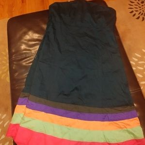GAP Black Strapless Dress with Colorful Bottom